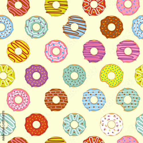 Cotton fabric seamless pattern donuts - vector illustration, eps