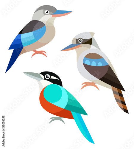 Stylized Birds - Kookaburra Wall mural