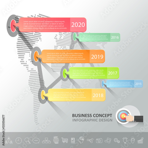 Photo  Business timeline infographic template can be used for workflow, layout, diagram