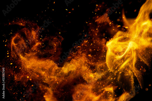 Photo sur Toile Feu, Flamme fire flames with sparks on a black background