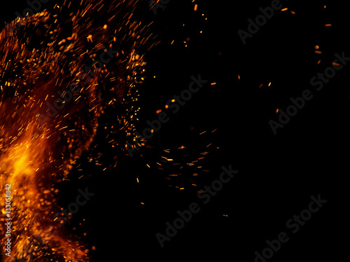 Aluminium Prints Firewood texture fire flames with sparks on a black background