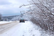 landscape Road in the winter forest with snow covered
