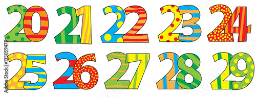 cartoon numbers 20-29 isolated on white background