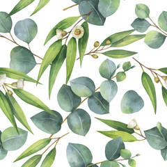 FototapetaWatercolor vector seamless pattern with eucalyptus leaves and branches.