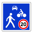 canvas print picture - Panneau routier en France : entrée de de zone de rencontre