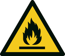ISO 7010 W021 Warning; Flammable Material