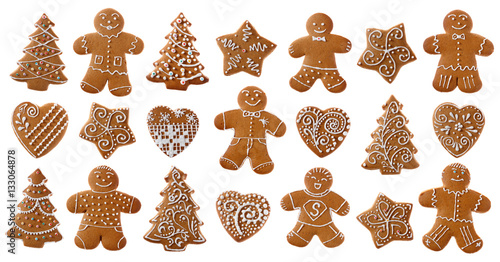 Poster Koekjes Set of christmas homemade gingerbread cookies on the white background