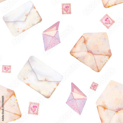 Materiał do szycia Akwarela wzór Walentynki z romantyczne kartki pocztowe. Ręcznie rysowane tekstury vintage koperty na białym tle.
