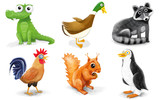 zwierzaki ilustracja krokodyl, kaczka, szop, kogut, wiewiórka i pingwin