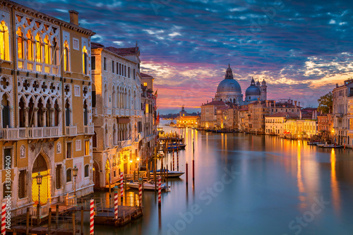 Venice. Cityscape image of Grand Canal in Venice, with Santa Maria della Salute Basilica in the background.