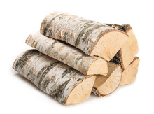 Birch Firewood Isolated