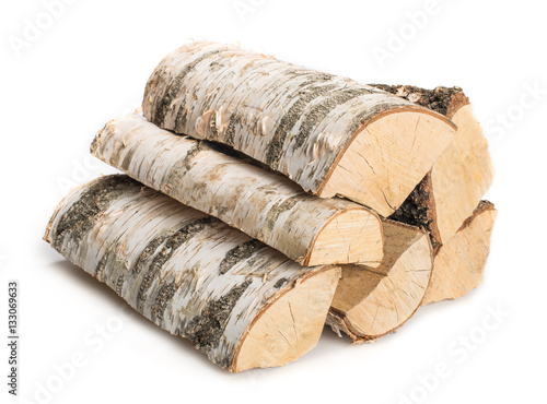 Birch firewood isolated Fototapete