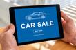 Car sale concept on a tablet