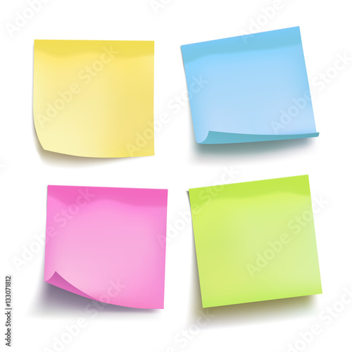 Fotografie, Obraz  Set of color sheets of note papers. Four sticky notes. Vector