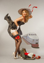 Professional Make-up, Hair And Style. Emulation Of Pin-Up Style