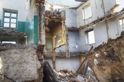 Poster Ruine Ruined school inside with fallen floors and holes in the walls