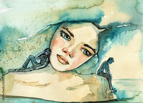 Foto auf AluDibond Aquarelleffekt Inspiration abstract watercolor illustration depicting a portrait of a woman