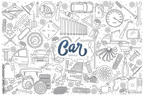 Photo Stands Cartoon cars Hand drawn set of car service doodles with dark blue lettering in vector
