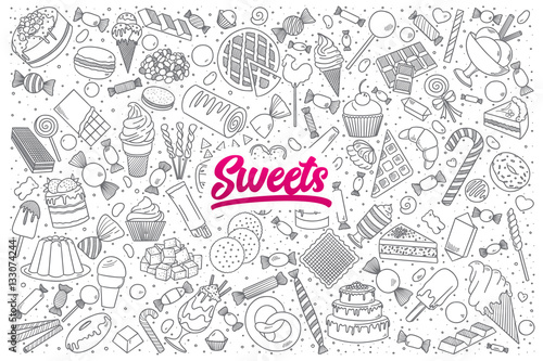 Fototapeta Hand drawn set of sweets doodles with bright lettering in vector obraz