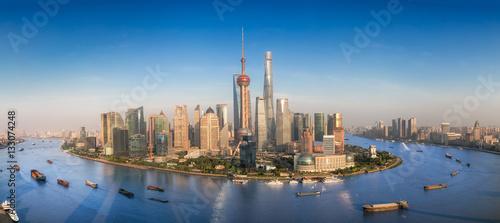 Poster Shanghai Shanghai skyline with modern urban skyscrapers