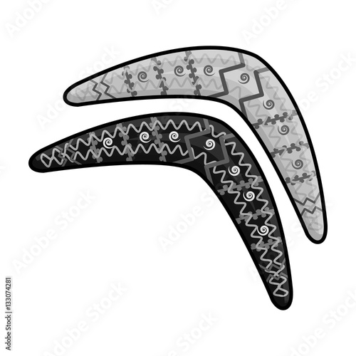 Photo Australian boomerang icon in monochrome style isolated on white background