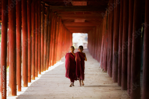 Young Buddhist monk walking and reading Canvas-taulu