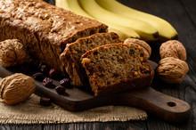 Homemade Banana Bread On Wooden Background.