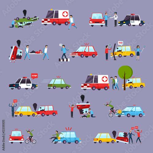 Foto op Canvas Cartoon cars Road Accident Icons Set