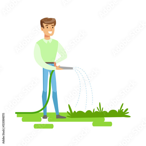 Man Cultivating Plant With Watering Pot Vector Illustration Design Royalty  Free Cliparts, Vectors, And Stock Illustration. Image 112380651.