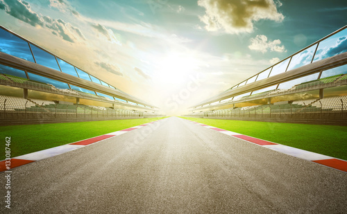 Photo sur Toile Motorise View of the infinity empty asphalt international race track, digital imaging recomposition montage background . evening scene .