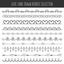 Collection Of Cute Hand Drawn Vintage Borders. Perfect For Valentine's Day Invitation Cards And Page Decoration. Vector Illustration.