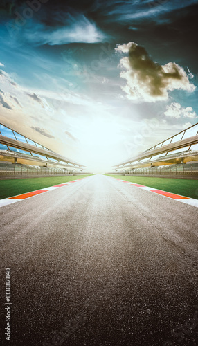 Fotobehang Motorsport View of the infinity empty asphalt international race track, digital imaging recomposition montage background . evening scene .