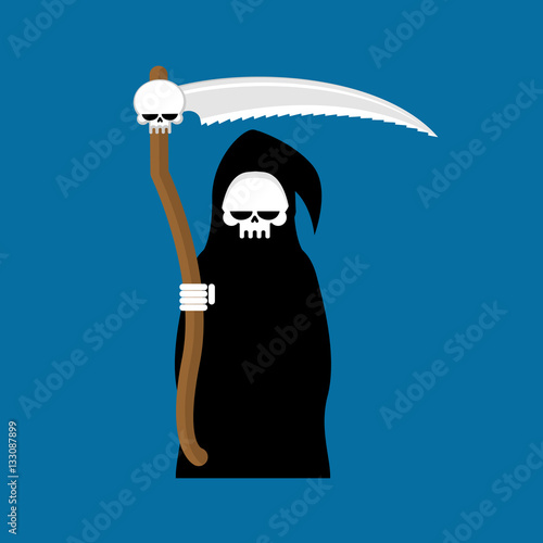 Photo  Grim Reaper with scythe isolated. Death in hood on white backgro