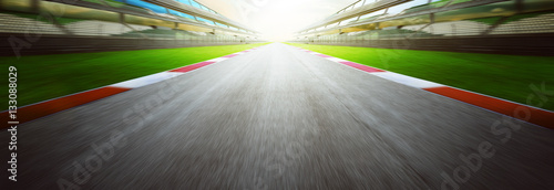 View of the infinity empty asphalt international race track, Motion blurred background Canvas-taulu
