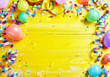 canvas print picture - Bright colorful carnival or party frame on yellow