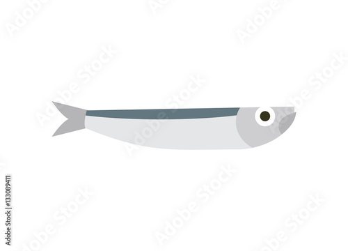 Photo Anchovy isolated. small fish on white background