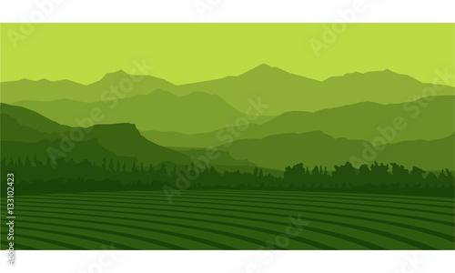 Fototapeta Silhouette Landscape Farm And Mountain Vector Illustration obraz na płótnie