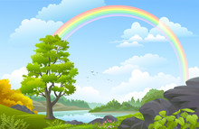 Rainbow Over A Landscape With Forest, Meadows, Hills And A River
