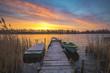 fishing marina in beautiful colorful morning