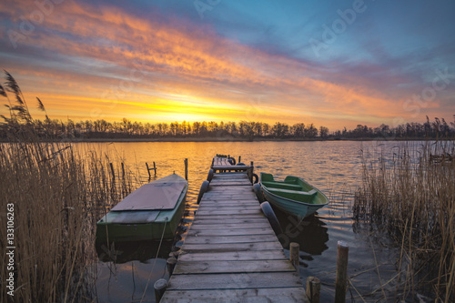 Fototapeta fishing marina in beautiful colorful morning obraz na płótnie
