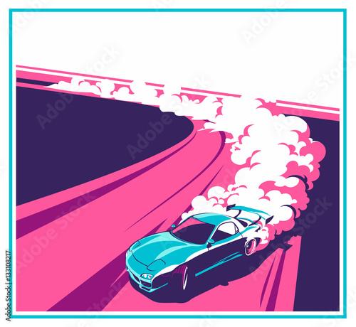 Canvas Print Burnout car, Japanese drift sport, Street racing