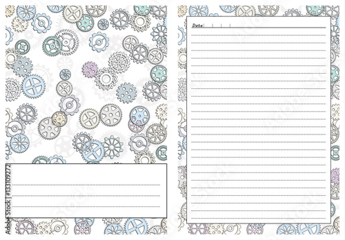 photograph about Gears Printable known as Fastened of webpages template for day-to-day planner. Printable, for