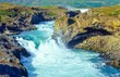 Wasserfall im Fluss Skjálfandafljót direkt unterhalb des Wasserfalls Goðafoss / Godafoss, Norðurland eystra, Nordisland, Island (Iceland), Europa