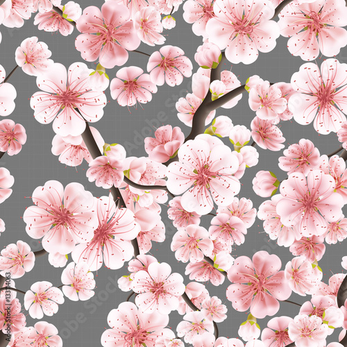 Seamless pink Sakura flowering cherry. EPS 10 Fotobehang