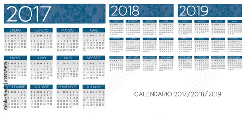 Fényképezés  Spanish textured blue calendar vector year 2017-2018-2019