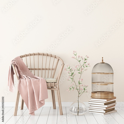 Fotografering  Neutral interior mockup with wicker chair, plaid and plant in vase on empty wall background