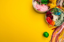 Multi-colored Yarn For Knitting On A Yellow Background, Place Fo