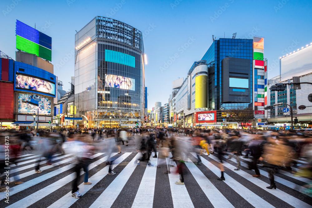 Ludzie przy Shibuya skrzyżowaniem w Tokio Japonia <span>plik: #133134873 | autor: eyetronic</span>