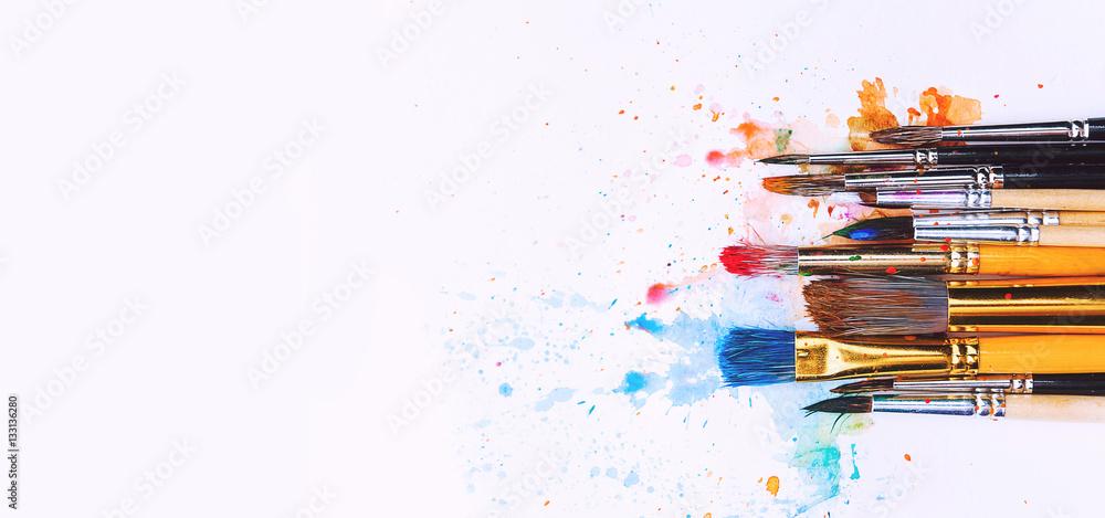 Fototapety, obrazy: artistic brushes on wooden background