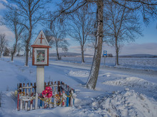 Colourful Chapel By A  Snow Covered Road